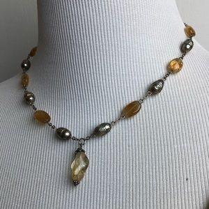 citrine and metallic freshwater pearl choker